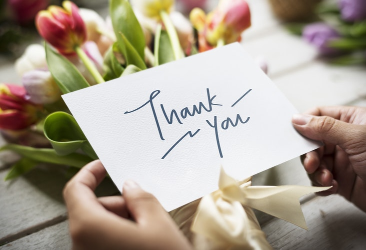 Hands holding thank you card with colorful tulips in background