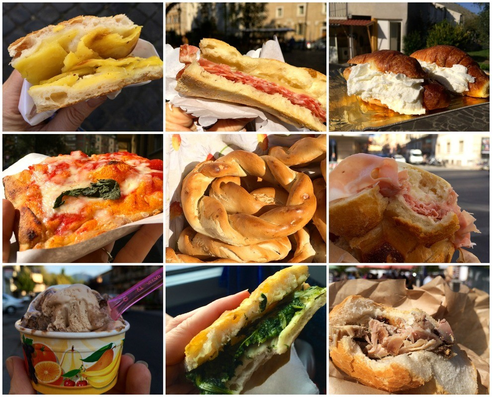 A picture of Italian sandwiches, gelato, and other Italian snacks.