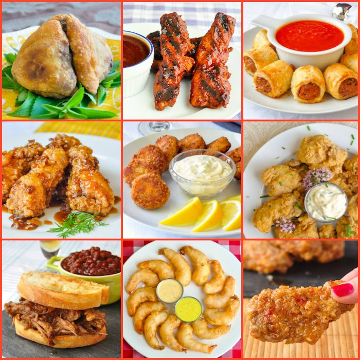 A picture of various party foods including shrimp, wings, wraps, and a barbecue.