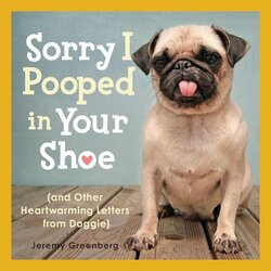 "A cute bulldog on the cover of ""Sorry I Pooped in Your Shoe"""