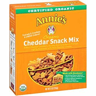 A box of Annie's Organic Cheddar Snack Mix.