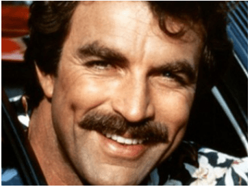 Tom Selleck with a copstash standard, a look he's famous for.