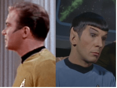 Kirk and Spock both have the Federation style sideburns.