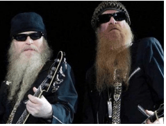 ZZ Top and their full beards, a look they've been known for.