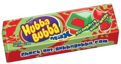 Hubba Bubba Max Strawberry Watermelon, a gum with candy goo in the middle.