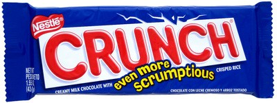 A Nestle Crunch bar, known for its crunchy chocolate.