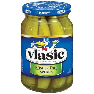 A jar of Vlasic brand pickles, a great snack for those on keto.