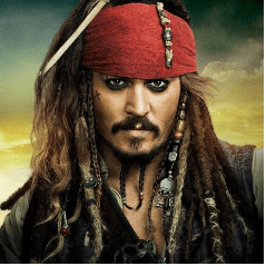 Jack Sparrow with the Sparrow facial hair, a look many would borrow from.