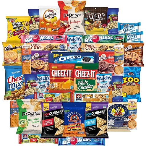 A collection of numerous popular snacks and candies.