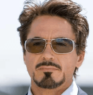 Robert Downey Jr. as Tony Stark, sporting the Anchor facial hair.