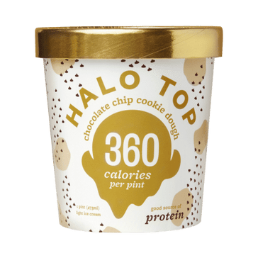 A container of Halo Top Chocolate Chip Cookie Dough ice cream.