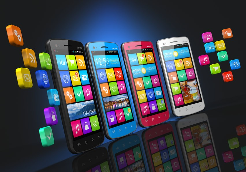Mobile communications and social networking row of touchscreen smartphones