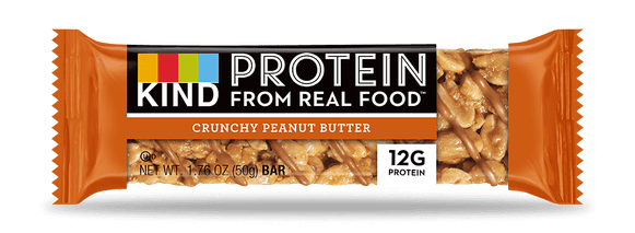 An image of the KIND Protein Crunchy Peanut Butter bar.