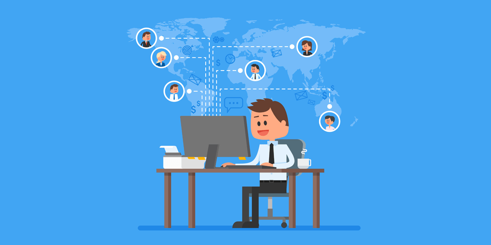 A graphic depicting a man successfully working with his remote team