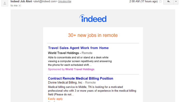 A screenshot of Indeed showing varying remote jobs